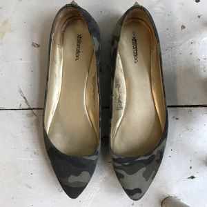 Camo Pointy Toe Flats w/ Studded Heel